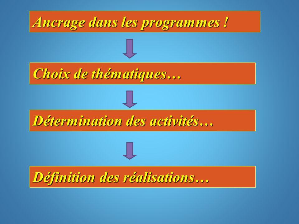 Ancrage dans les programmes ! Choix de thématiques… Détermination des activités… Définition des réalisations…