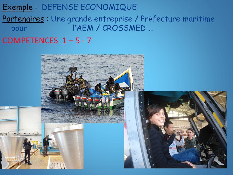 Exemple : DEFENSE ECONOMIQUE Partenaires : Une grande entreprise / Pr é fecture maritime pour l AEM / CROSSMED … COMPETENCES 1 – 5 - 7