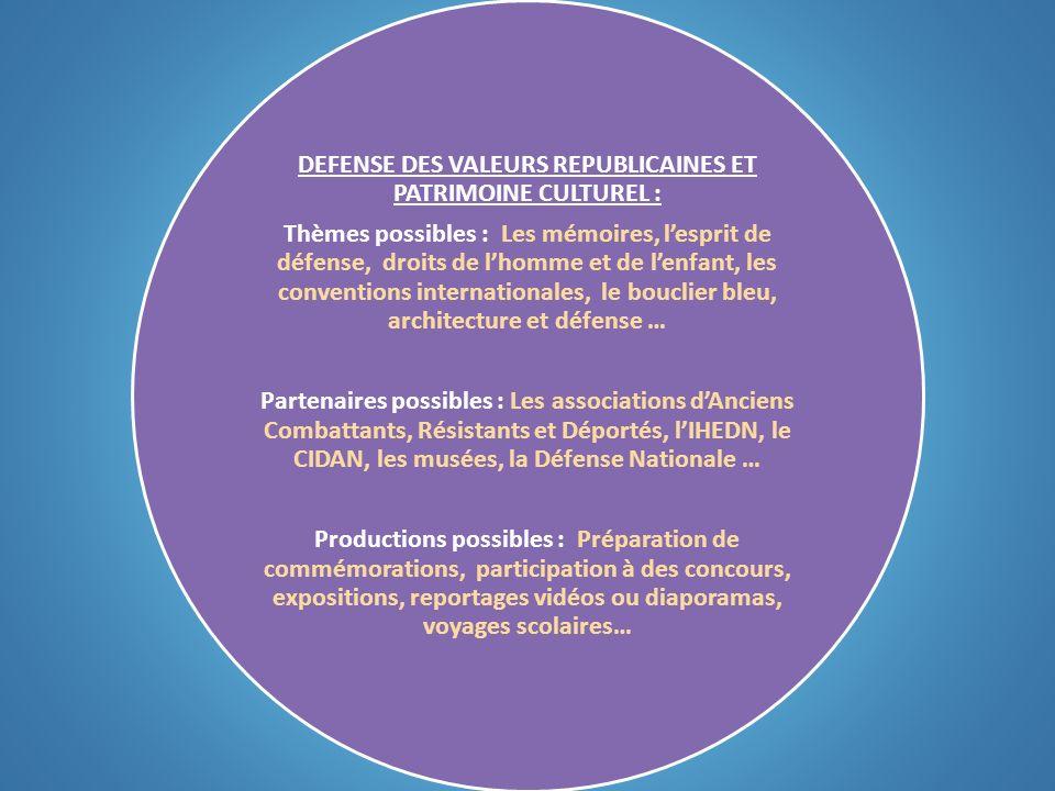 DEFENSE DES VALEURS REPUBLICAINES ET PATRIMOINE CULTUREL : Thèmes possibles : Les mémoires, lesprit de défense, droits de lhomme et de lenfant, les co
