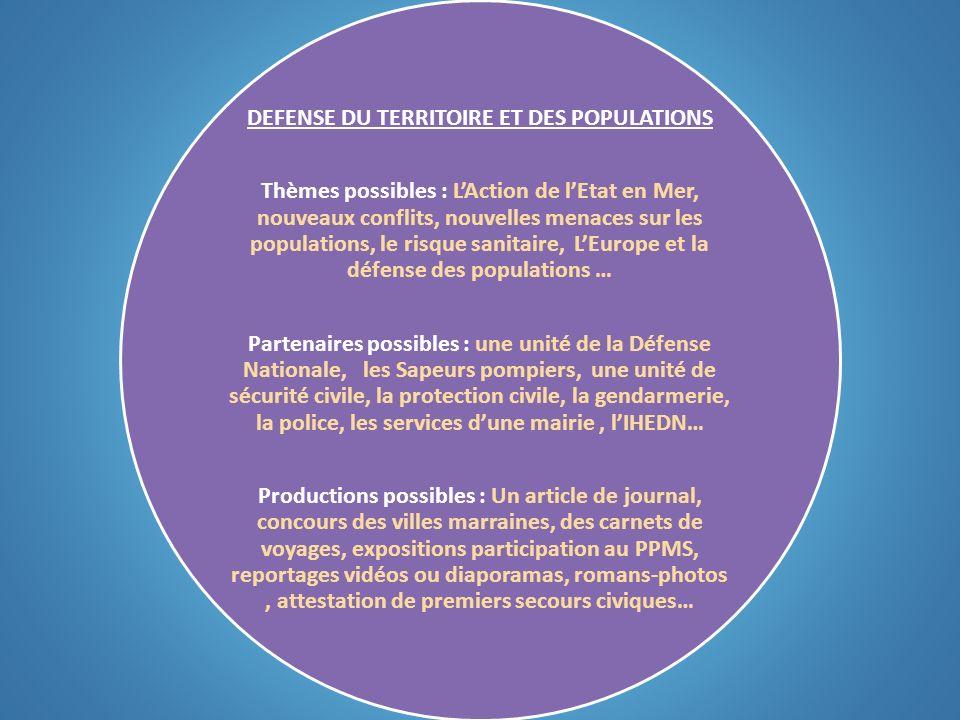 DEFENSE DU TERRITOIRE ET DES POPULATIONS Thèmes possibles : LAction de lEtat en Mer, nouveaux conflits, nouvelles menaces sur les populations, le risq