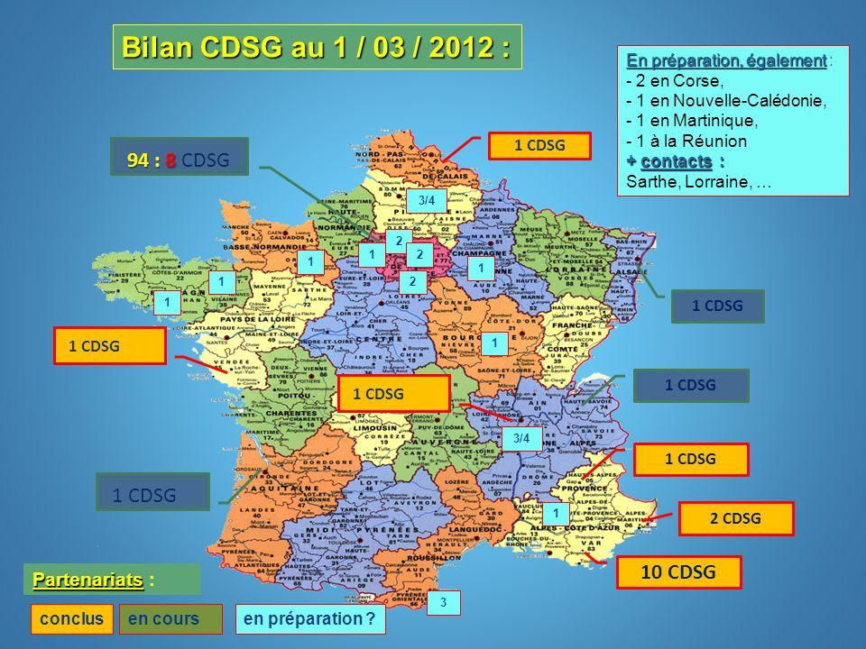 10 CDSG 1 CDSG 94 : 8 94 : 8 CDSG conclusen cours Partenariats Partenariats : En préparation, également En préparation, également : - 2 en Corse, - 1