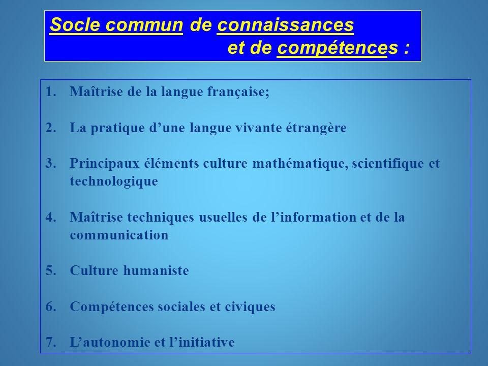 Problématique, côté éducation nationale Problématique, côté éducation nationale : socle commun de connaissances et de compétences (1 à 7 ).