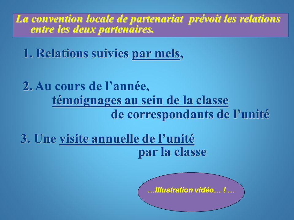 La convention locale de partenariat prévoit les relations entre les deux partenaires. 1. Relations suivies par mels, 2. témoignages au sein de la clas