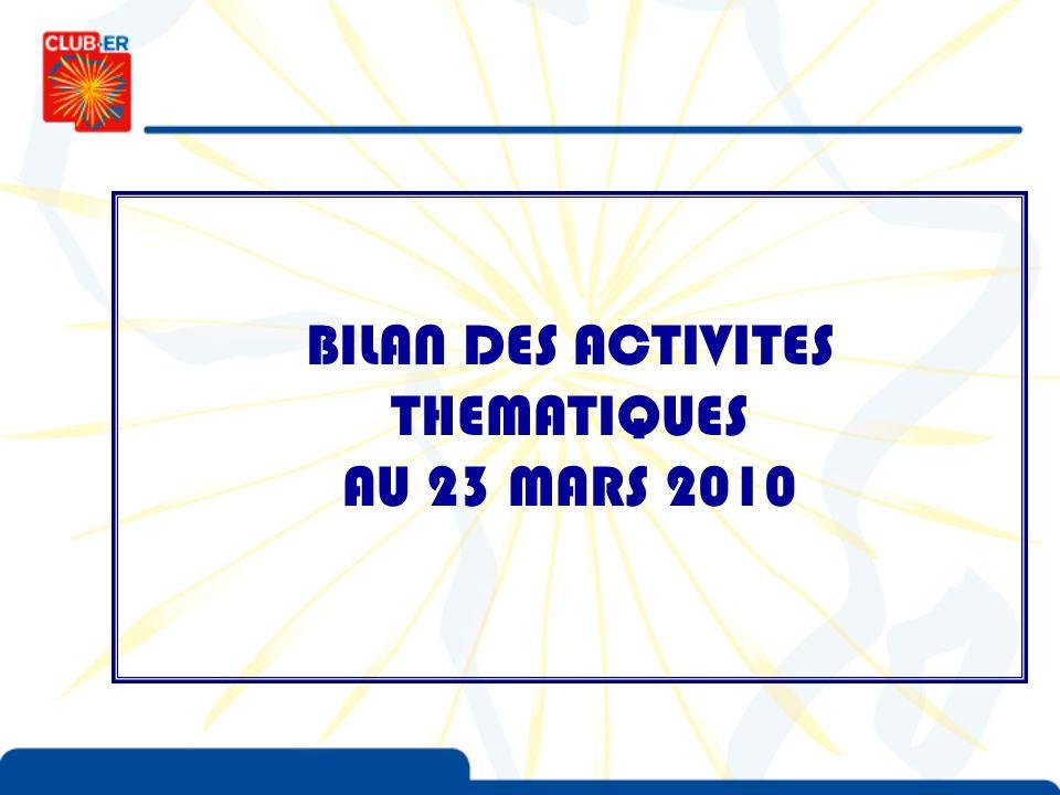 BILAN DES ACTIVITES THEMATIQUES AU 23 MARS 2010