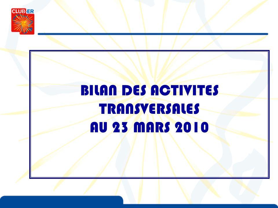 BILAN DES ACTIVITES TRANSVERSALES AU 23 MARS 2010