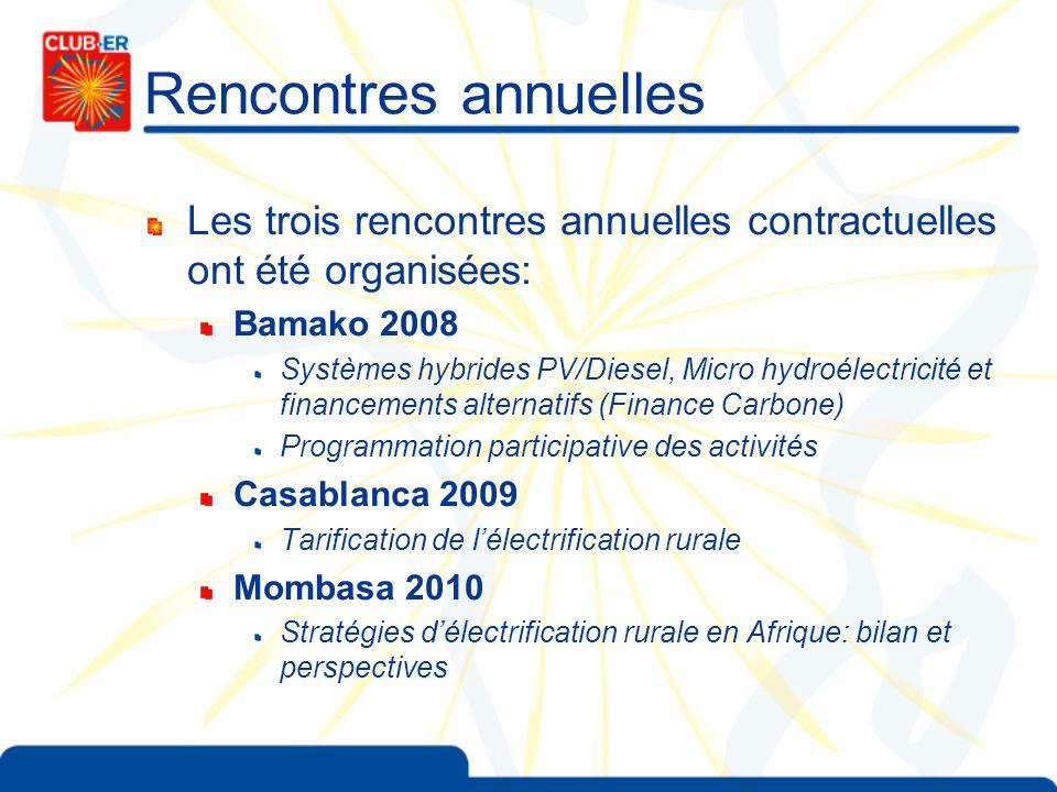 Rencontres annuelles Les trois rencontres annuelles contractuelles ont été organisées: Bamako 2008 Systèmes hybrides PV/Diesel, Micro hydroélectricité