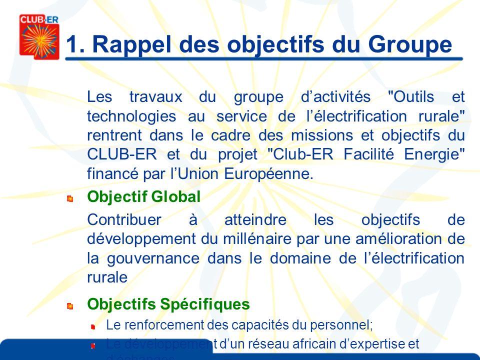 1. Rappel des objectifs du Groupe Les travaux du groupe dactivités