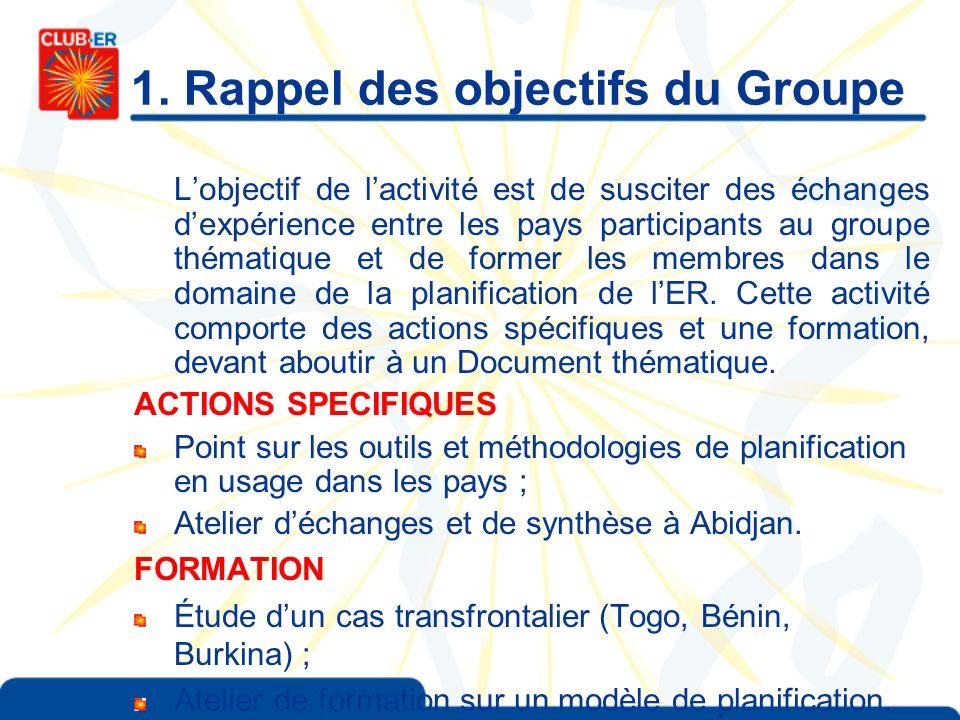 1. Rappel des objectifs du Groupe Lobjectif de lactivité est de susciter des échanges dexpérience entre les pays participants au groupe thématique et