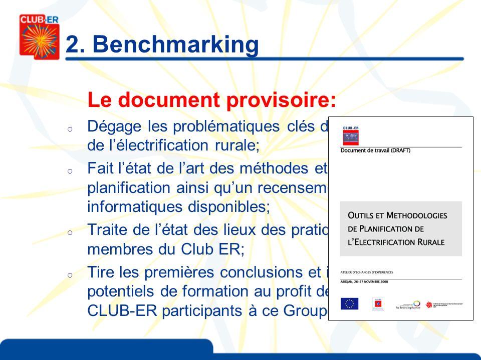 2. Benchmarking Le document provisoire: o Dégage les problématiques clés de la planification de lélectrification rurale; o Fait létat de lart des méth