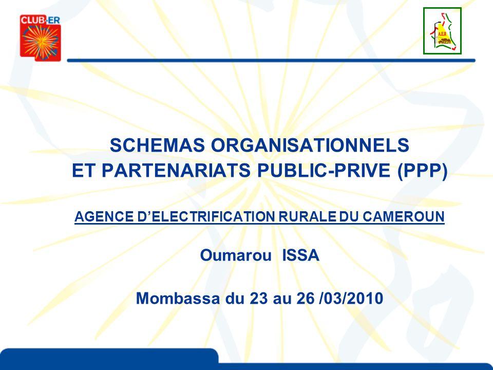 SCHEMAS ORGANISATIONNELS ET PARTENARIATS PUBLIC-PRIVE (PPP) AGENCE DELECTRIFICATION RURALE DU CAMEROUN Oumarou ISSA Mombassa du 23 au 26 /03/2010