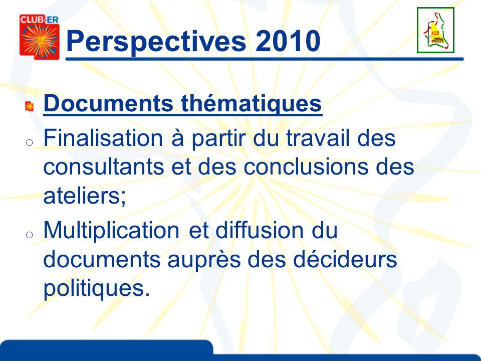 Perspectives 2010 Documents thématiques o Finalisation à partir du travail des consultants et des conclusions des ateliers; o Multiplication et diffus