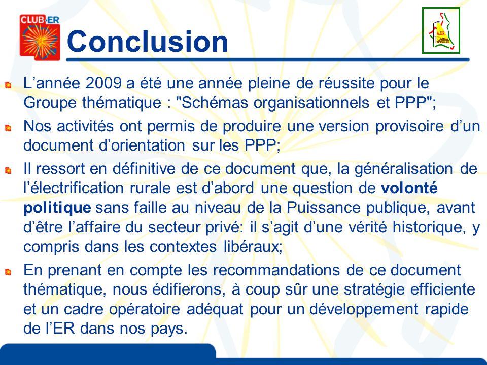 Conclusion Lannée 2009 a été une année pleine de réussite pour le Groupe thématique :