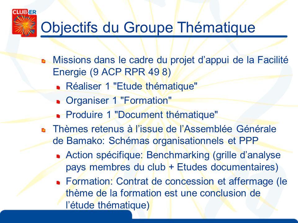 Objectifs du Groupe Thématique Missions dans le cadre du projet dappui de la Facilité Energie (9 ACP RPR 49 8) Réaliser 1
