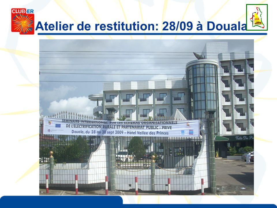 Atelier de restitution: 28/09 à Douala