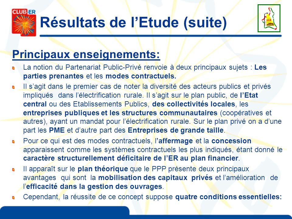 Résultats de lEtude (suite) Principaux enseignements: La notion du Partenariat Public-Privé renvoie à deux principaux sujets : Les parties prenantes e