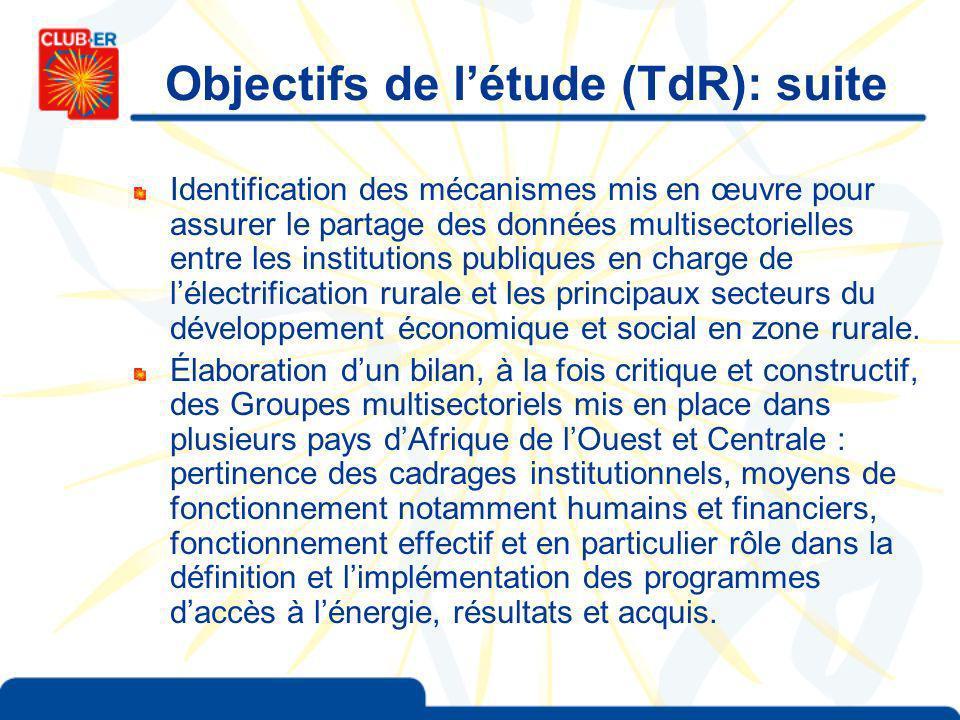 Identification des mécanismes mis en œuvre pour assurer le partage des données multisectorielles entre les institutions publiques en charge de lélectrification rurale et les principaux secteurs du développement économique et social en zone rurale.