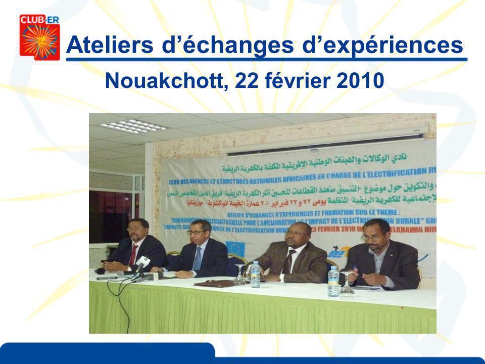 Ateliers déchanges dexpériences Nouakchott, 22 février 2010