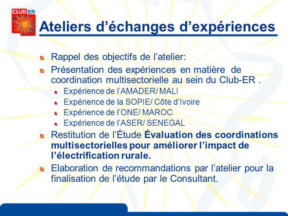 Ateliers déchanges dexpériences Rappel des objectifs de latelier: Présentation des expériences en matière de coordination multisectorielle au sein du Club-ER.