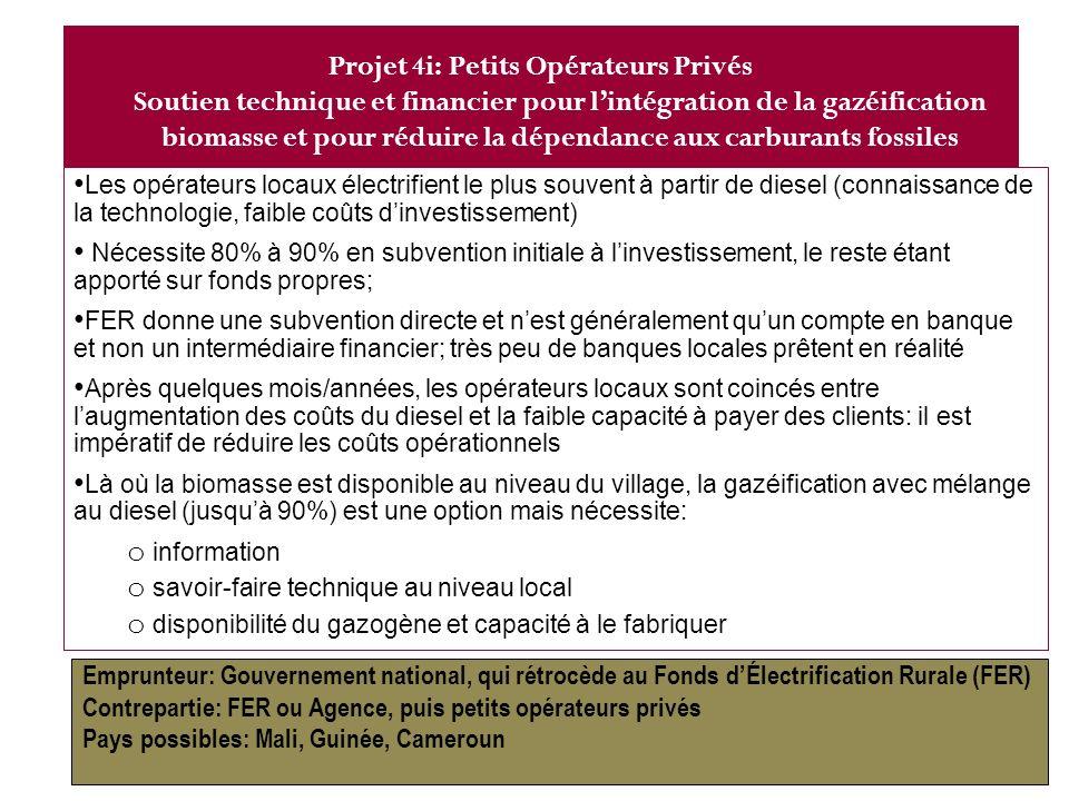 23 Fonds/Agence dER (AMADER) Subvention à linvestissement… ~80% Opérateurs locaux, Mali : PCASER Soutien technique et financier PCASER incapable de couvrir les coûts opérationnels Pôle de compétence biodiesel Projet 4ii
