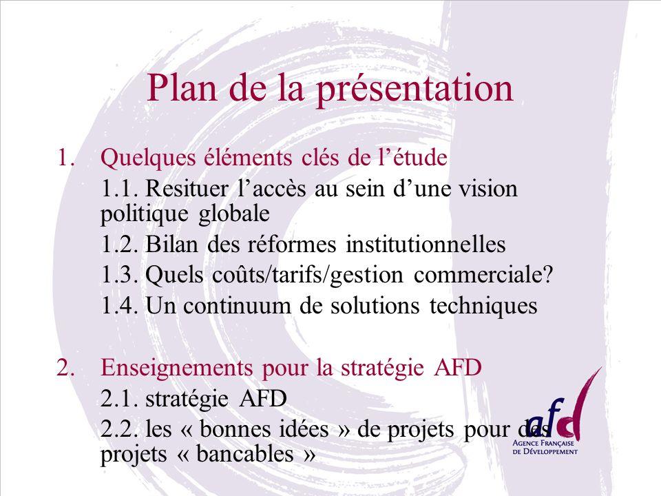 Plan de la présentation 1.Quelques éléments clés de létude 1.1. Resituer laccès au sein dune vision politique globale 1.2. Bilan des réformes institut