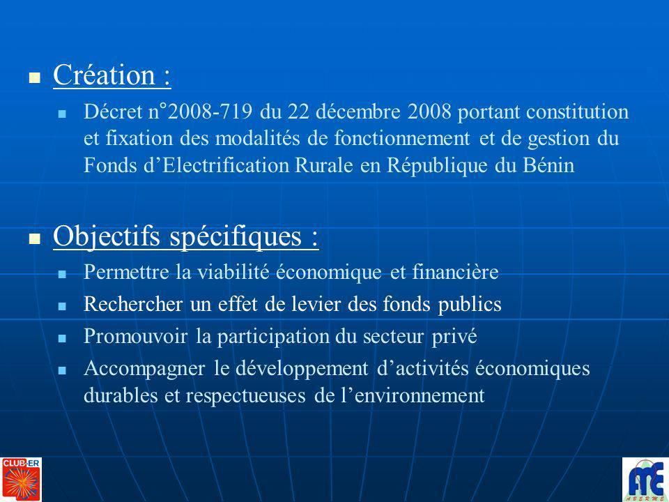 Création : Décret n°2008-719 du 22 décembre 2008 portant constitution et fixation des modalités de fonctionnement et de gestion du Fonds dElectrificat