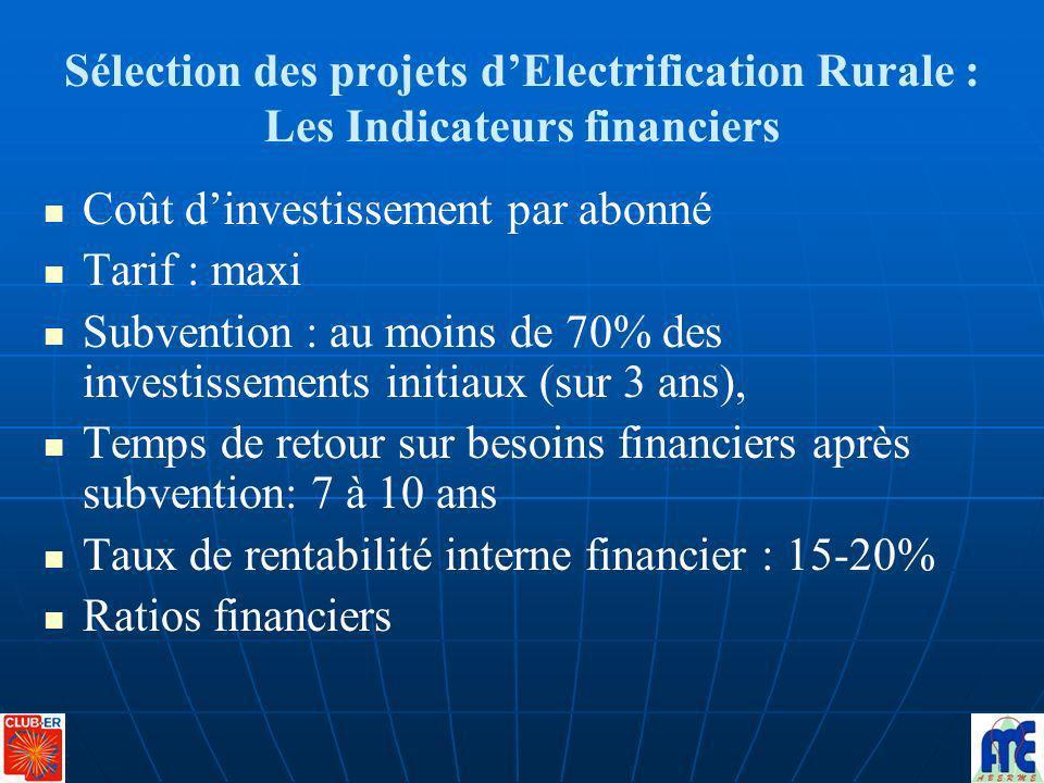 Sélection des projets dElectrification Rurale : Les Indicateurs financiers Coût dinvestissement par abonné Tarif : maxi Subvention : au moins de 70% d