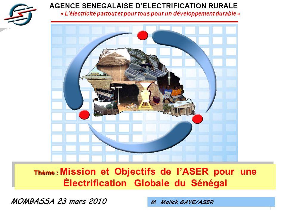 22 RESULTATS ATTENDUS DE LA PREMIERE CONCESSION MISE EN ŒUVRE SAINT-LOUIS-DAGANA-PODOR FAIRE PASSER LE TAUX DELECTRIFICATION DE LA REGION DE 6% en 2000 à 50% en 2012, grâce à lélectrification de: 300 villages (dont 157 par raccordement au réseau MT), contre 55 villages en 2000, lensemble des postes de santé de la région, Le périmètre agricole de Débi-Tiguet, Nombreuses stations de pompage et forages situées le long du fleuve Sénégal, améliorant ainsi les potentiels agricoles de la région.