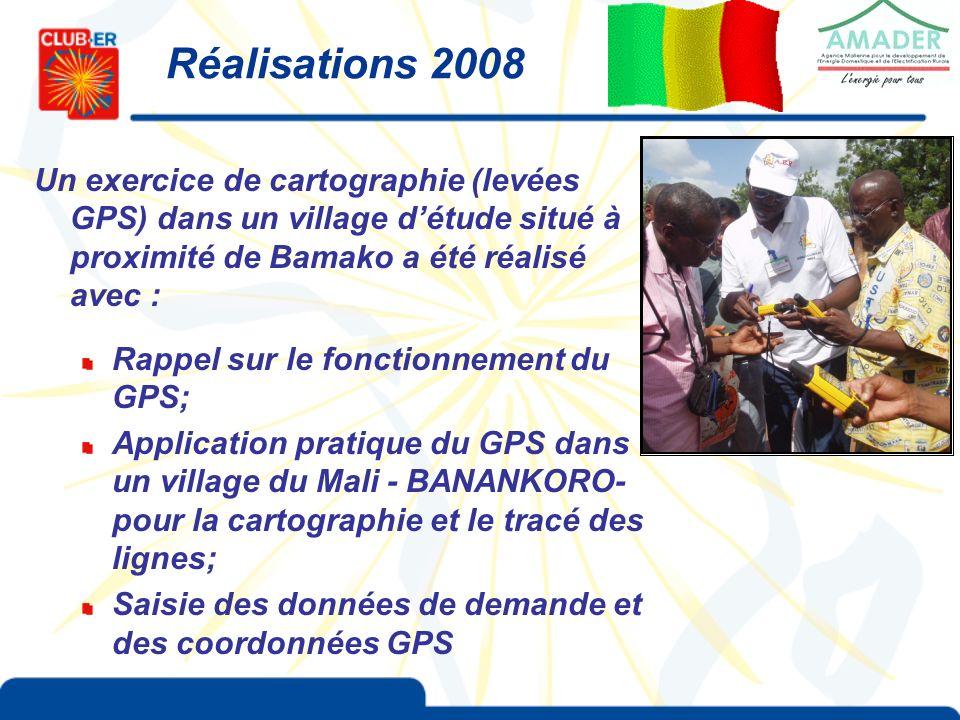 Un exercice de cartographie (levées GPS) dans un village détude situé à proximité de Bamako a été réalisé avec : Rappel sur le fonctionnement du GPS; Application pratique du GPS dans un village du Mali - BANANKORO- pour la cartographie et le tracé des lignes; Saisie des données de demande et des coordonnées GPS Réalisations 2008