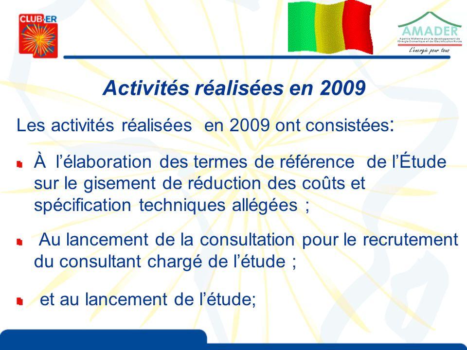 Activités réalisées en 2009 Les activités réalisées en 2009 ont consistées : À lélaboration des termes de référence de lÉtude sur le gisement de réduction des coûts et spécification techniques allégées ; Au lancement de la consultation pour le recrutement du consultant chargé de létude ; et au lancement de létude;