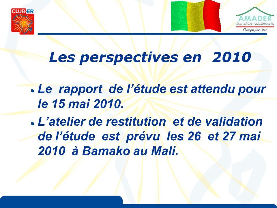 Les perspectives en 2010 Le rapport de létude est attendu pour le 15 mai 2010.