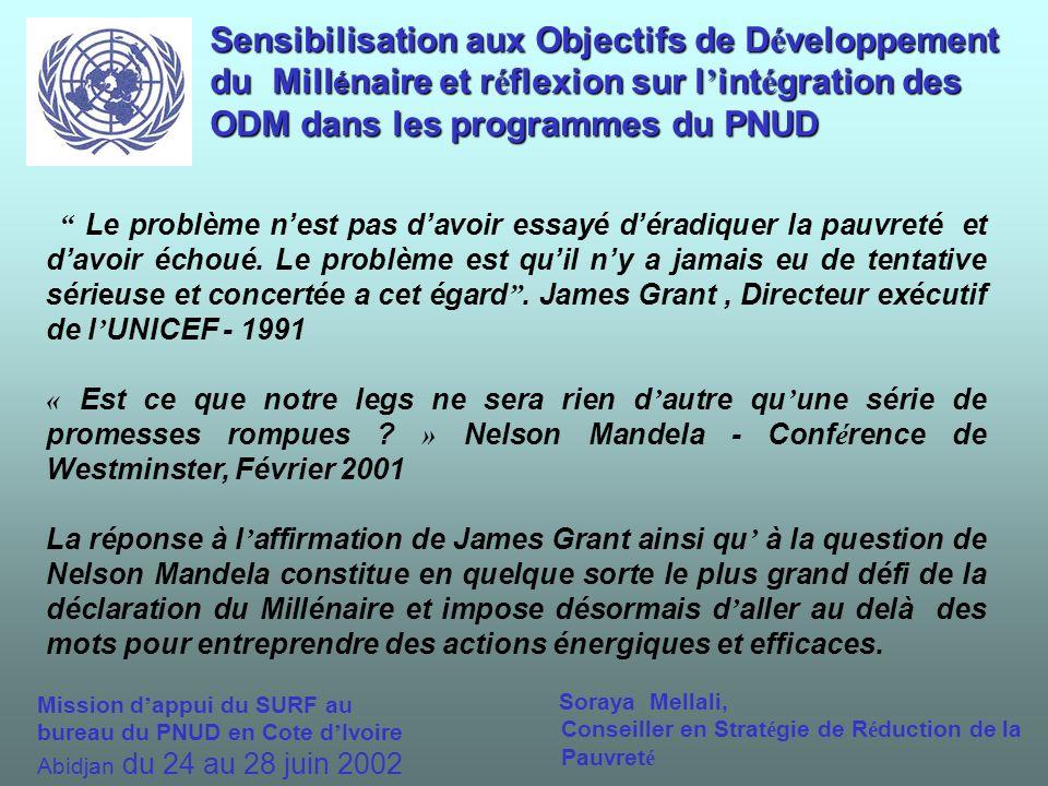 Sensibilisation aux Objectifs de D é veloppement du Mill é naire et r é flexion sur l int é gration des ODM dans les programmes du PNUD Le problème nest pas davoir essayé déradiquer la pauvreté et davoir échoué.