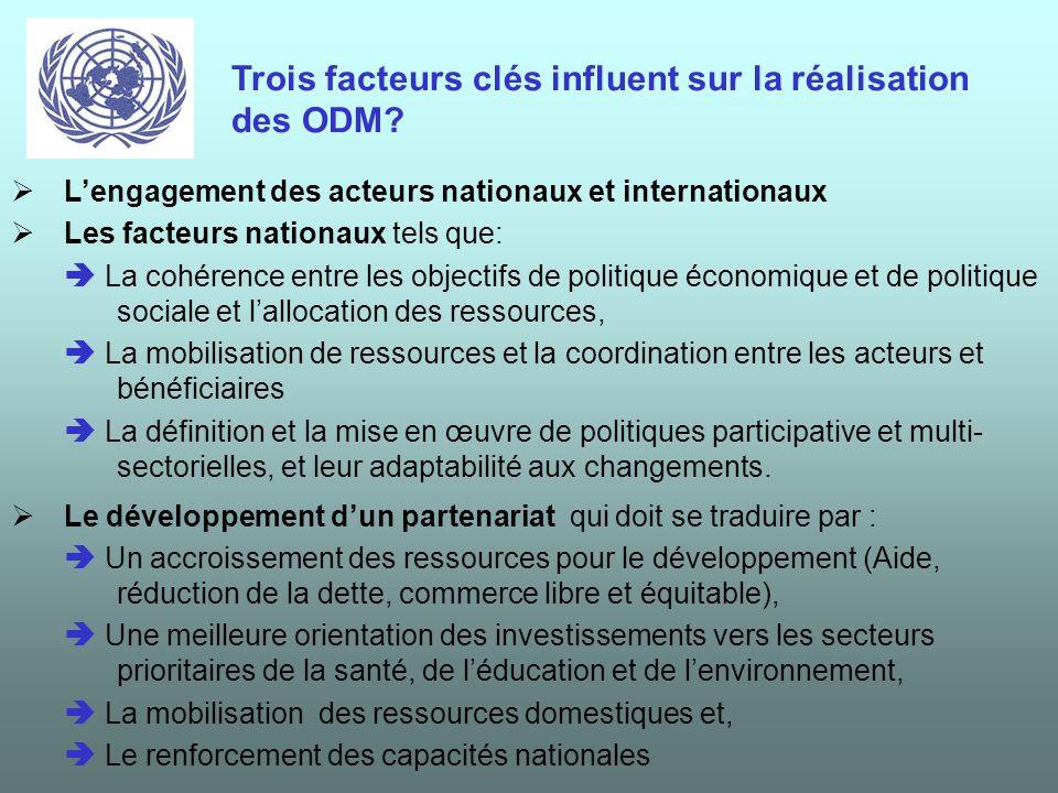 Ces actions prioritaires constituent une base de référence pour lévaluation des coûts datteinte des ODM. Lévaluation financière permettra au gouvernem