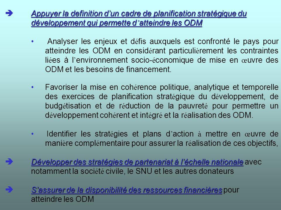 Faire le point sur les indicateurs Mettre en place un système de suivi et de « reporting pour le ODM Faire le point sur les indicateurs de la déclaration du millénaire.
