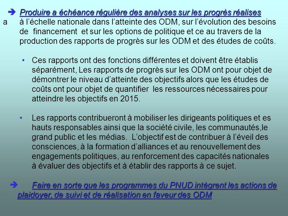 Appuyer la definition dun cadre de planification stratégique du développement qui permette d atteindre les ODM Analyser les enjeux et d é fis auxquels