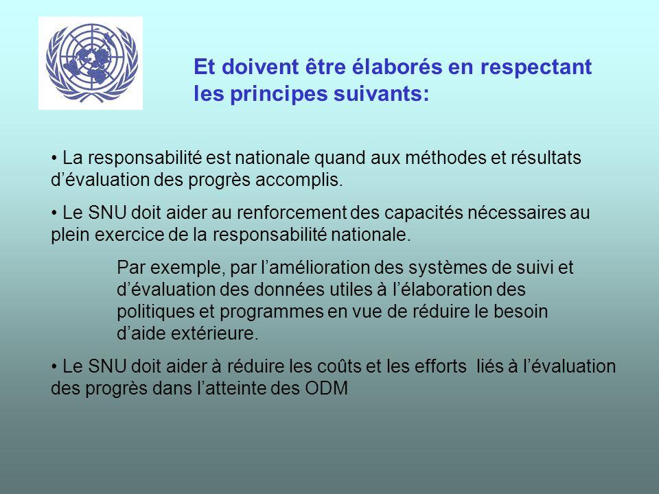Les rapports sur les ODM doivent sinspirer des documents existants même sils se différencient par leurs objectifs, leurs contenu et leur calendrier, en particulier : - Les DSRP, Les PND - Les autres cadres stratégiques de politique économique, - Les programmes bilatéraux et les cadres de coopération, - Les cadres de programmation multilatéraux et inter- gouvernementaux (WB-CAS, UN-CCF/UNDAF, EU, IMF- PRGF, etc.), Les ODM doivent être déclinés dans les politiques de développement à léchelle nationale voire régionale.