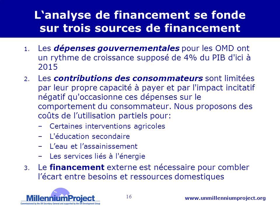 16 www.unmillenniumproject.org Lanalyse de financement se fonde sur trois sources de financement 1. Les dépenses gouvernementales pour les OMD ont un