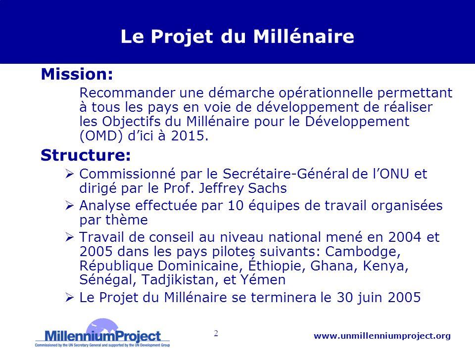 2 www.unmillenniumproject.org Le Projet du Millénaire Mission: –Recommander une démarche opérationnelle permettant à tous les pays en voie de développement de réaliser les Objectifs du Millénaire pour le Développement (OMD) dici à 2015.