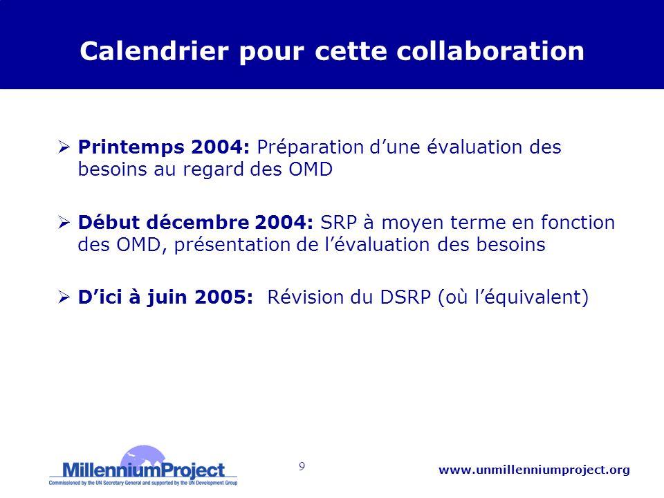 9 www.unmillenniumproject.org Calendrier pour cette collaboration Printemps 2004: Préparation dune évaluation des besoins au regard des OMD Début décembre 2004: SRP à moyen terme en fonction des OMD, présentation de lévaluation des besoins Dici à juin 2005: Révision du DSRP (où léquivalent)