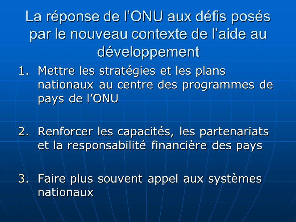 La réponse de lONU aux défis posés par le nouveau contexte de laide au développement 1.Mettre les stratégies et les plans nationaux au centre des programmes de pays de lONU 2.Renforcer les capacités, les partenariats et la responsabilité financière des pays 3.Faire plus souvent appel aux systèmes nationaux