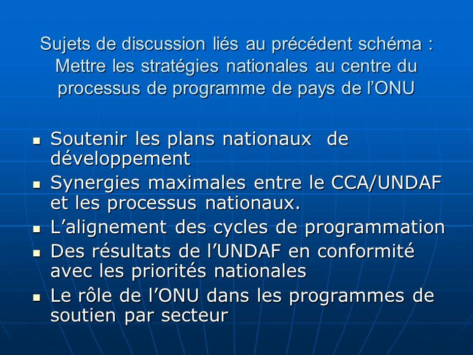 Renforcer les capacités nationales Développement des capacités et aide à lexécution Développement des capacités et aide à lexécution Mettre laccent sur les capacités nationales dans les processus de Bilan Commun de Pays (CCA)/ Plan-Cadre de lONU pour lAide au Développement (UNDAF) Mettre laccent sur les capacités nationales dans les processus de Bilan Commun de Pays (CCA)/ Plan-Cadre de lONU pour lAide au Développement (UNDAF) Soutenir les capacités de gestion des finances publiques Soutenir les capacités de gestion des finances publiques
