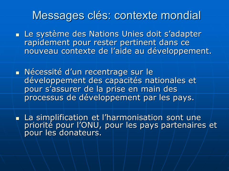 Messages clés: contexte mondial Le système des Nations Unies doit sadapter rapidement pour rester pertinent dans ce nouveau contexte de laide au développement.