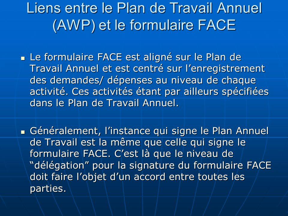 Liens entre le Plan de Travail Annuel (AWP) et le formulaire FACE Le formulaire FACE est aligné sur le Plan de Travail Annuel et est centré sur lenregistrement des demandes/ dépenses au niveau de chaque activité.