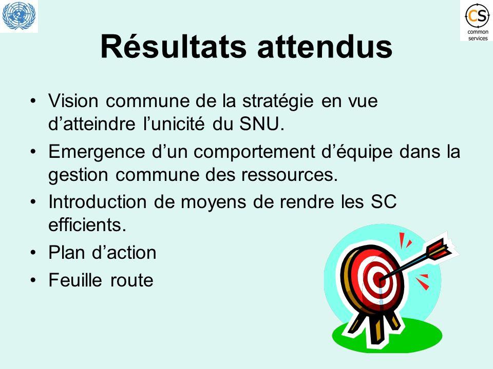 Résultats attendus Vision commune de la stratégie en vue datteindre lunicité du SNU. Emergence dun comportement déquipe dans la gestion commune des re