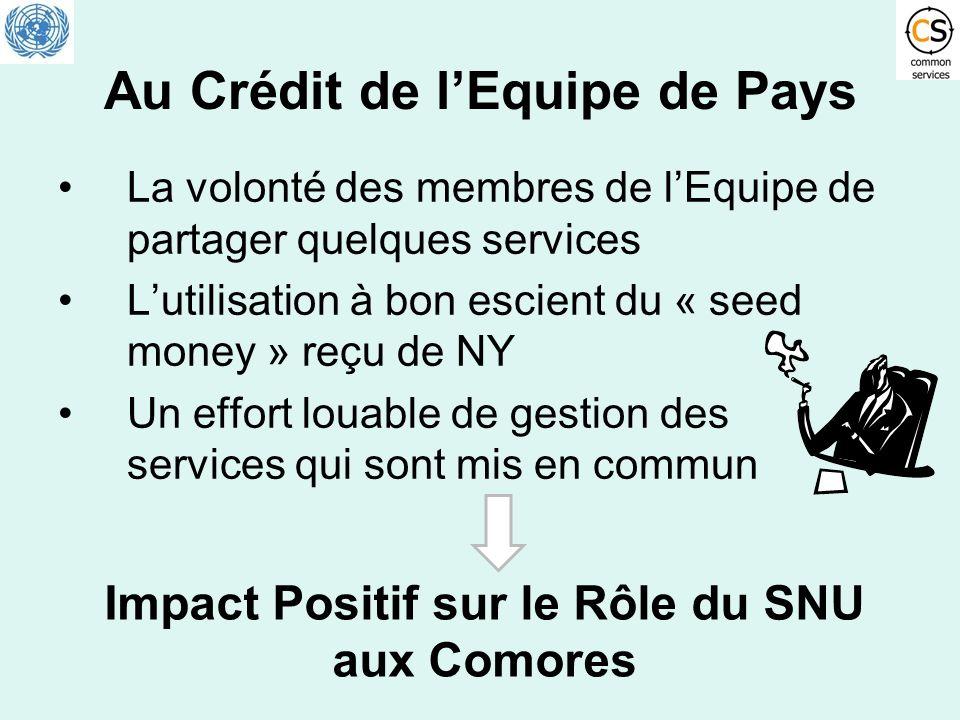 Au Crédit de lEquipe de Pays La volonté des membres de lEquipe de partager quelques services Lutilisation à bon escient du « seed money » reçu de NY U