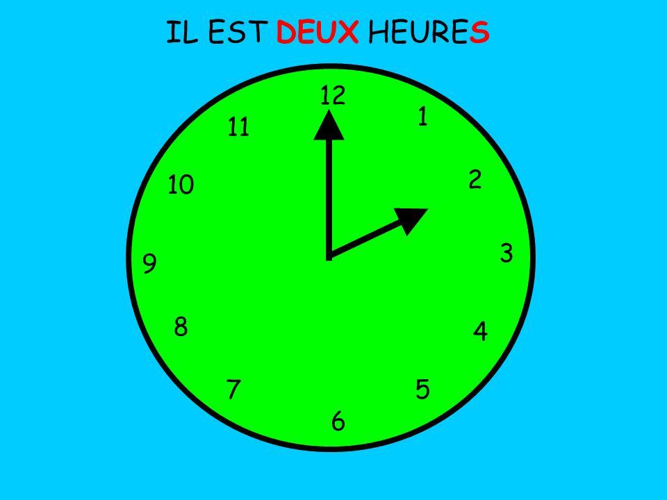 IL EST DEUX HEURES 12 1 5 4 9 3 6 10 11 2 7 8