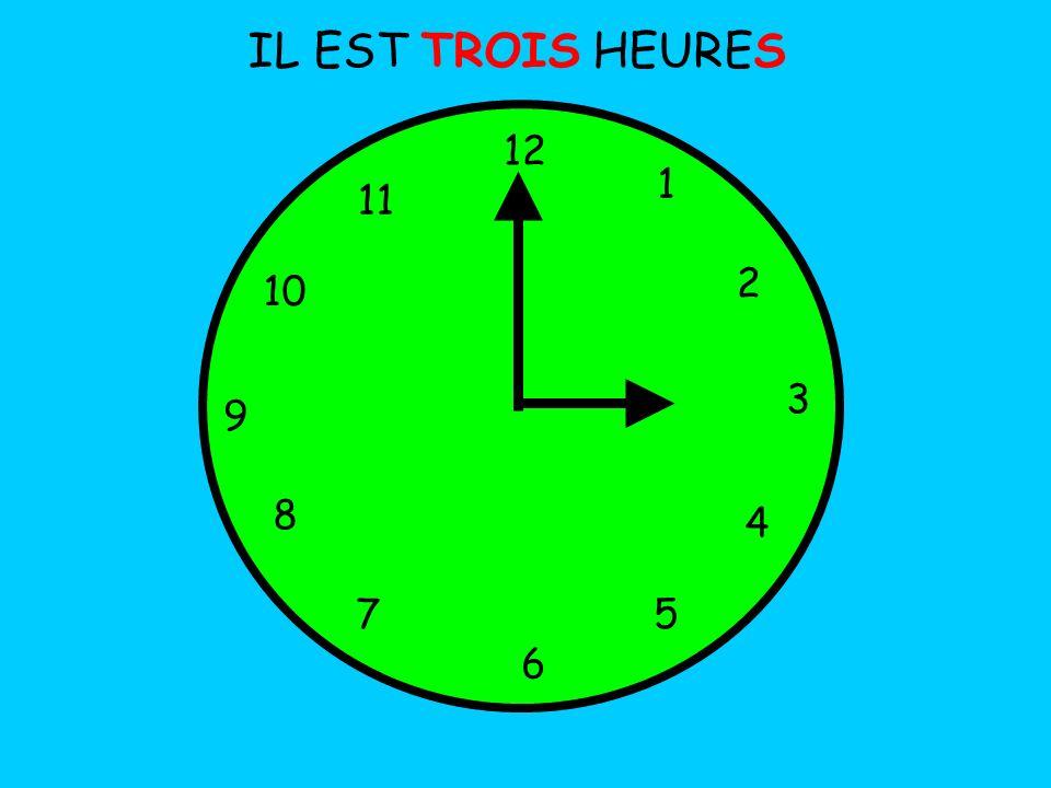 IL EST TROIS HEURES 12 1 5 4 9 3 6 10 11 2 7 8