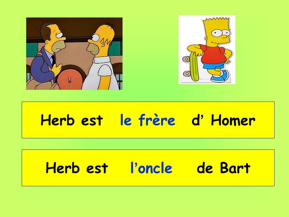 Herb est __ _____ d Homer le frère Herb est __ _____ de Bart l oncle
