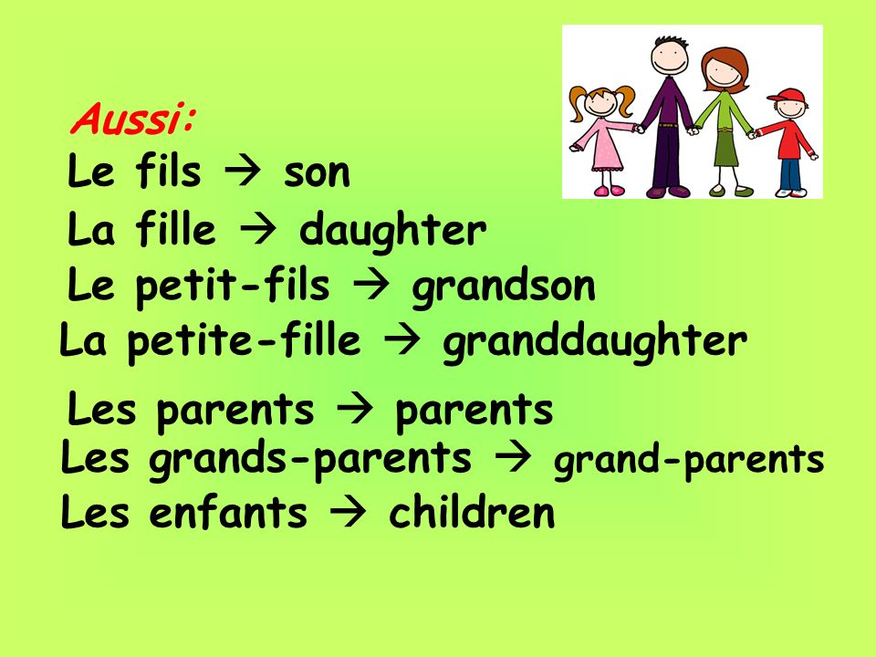 Aussi: Le fils son La fille daughter Le petit-fils grandson La petite-fille granddaughter Les parents parents Les grands-parents grand-parents Les enf