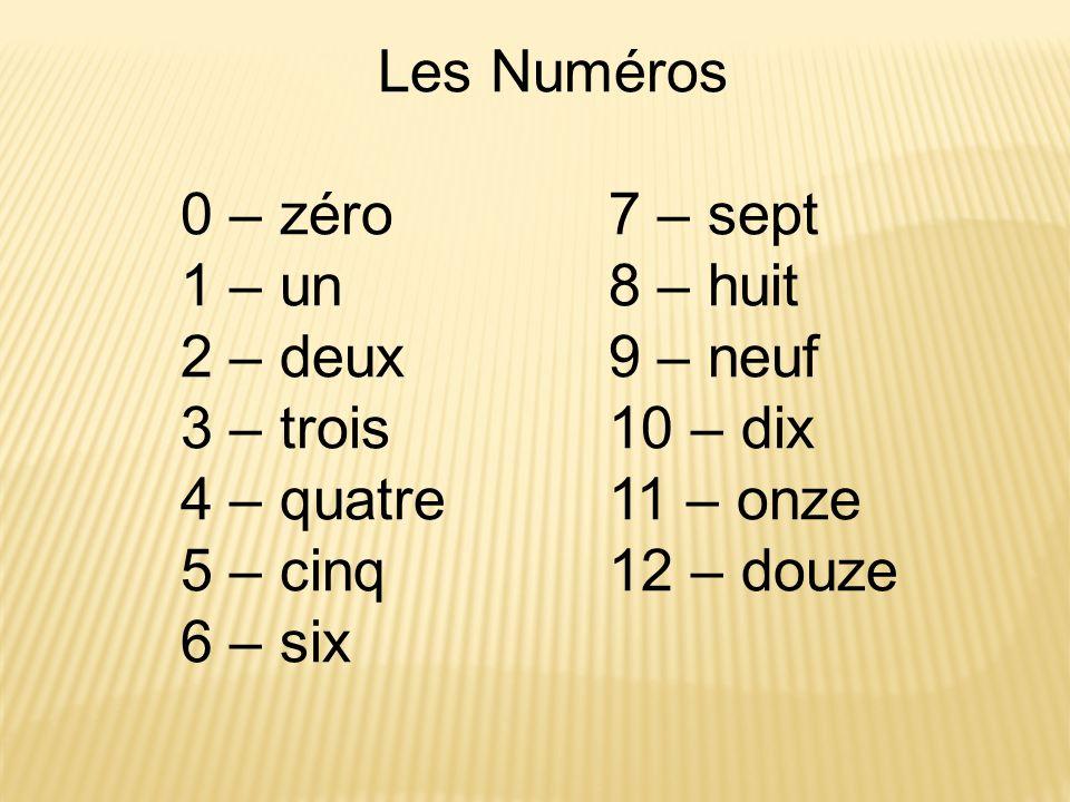 Les Numéros 0 – zéro7 – sept 1 – un8 – huit 2 – deux9 – neuf 3 – trois10 – dix 4 – quatre11 – onze 5 – cinq12 – douze 6 – six