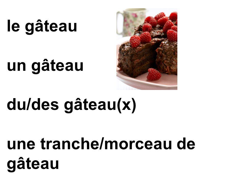 le gâteau un gâteau du/des gâteau(x) une tranche/morceau de gâteau